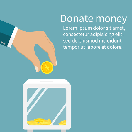 donation: Man throws gold coin in a box for donations. Coin in hand. Donation box. Donate, giving money. Vector illustration, flat style design.