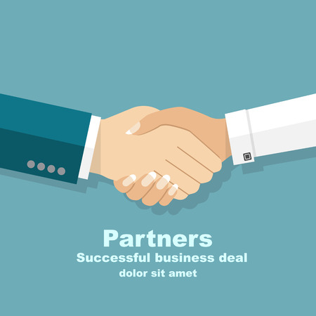 Handshake men and women. Handshake of business people partners businessmen and businesswomen. Hand shaking meeting agreement. Vector flat design. Symbol of successful transaction.