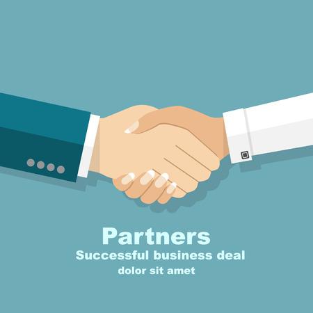Handshake men and women. Handshake of business people partners businessmen and businesswomen. Hand shaking meeting agreement. Vector flat design. Symbol of successful transaction.