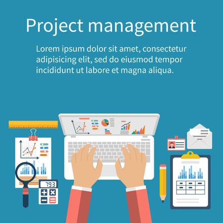 Project management concept. Business analyse, planning, financieel verslag, beheer, ontwikkeling. Platte design, vector. Infographics projectmanagement. Bovenaanzicht zakenman, werkplaats analyseren.
