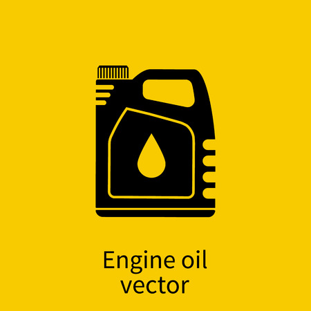 Engine oil. Icon cans of engine oil. Silhouette icon. Vector illustration, flat style. Service concept and repair. Engine oil canister. Vettoriali