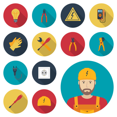 electric energy: Electricity set icon flat. Icons electric tools, equipments and maintenance. Signs of work safety. Colored icons isolated with shadow. Avatar electrician. Vector illustration, flat design. Illustration
