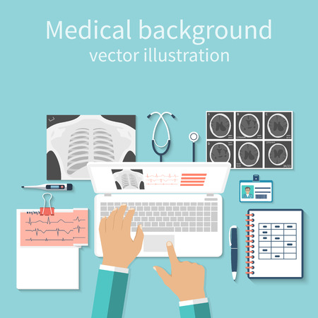 Doctor with laptop his desk studying documents of diagnostic research. Workplace doctor at table. Top view of the workplace doctor, medical equipment. Flat design vector. Medical concept. Background