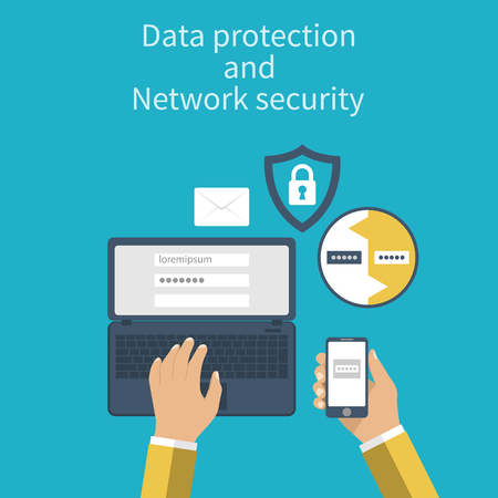Data protection and Network security. Concepts web protection. Flat design. Laptop and smartphone connection for security reasons. Vector illustration. Authentication. Ilustração