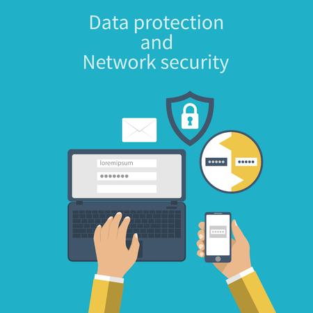 Protección de datos y seguridad de la red. Conceptos de protección web. Diseño plano. Ordenador portátil y el teléfono inteligente de conexión por razones de seguridad. Ilustración del vector. Autenticación.