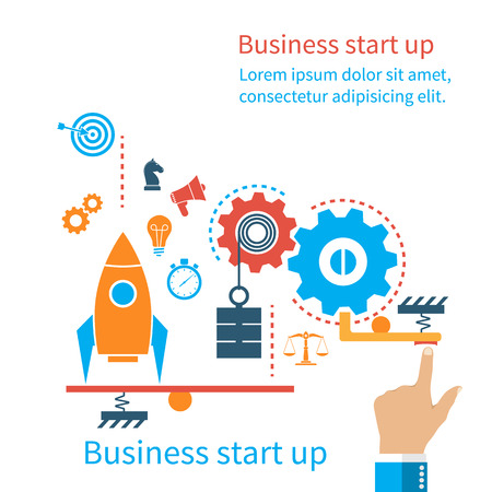Start up new business project. Flat design, vector illustration. Start up business concept. Icons and symbols of business planning, strategy and start-up. The mechanism of start-up business