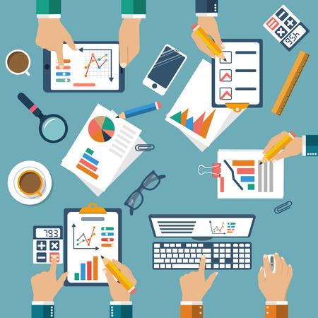 planificacion: Reunión de la gente de negocios para la planificación de negocios, el trabajo en equipo del proyecto analizando, la estrategia, la investigación, el desarrollo, la gestión financiera, la investigación de mercados, estadística, solución. Reunión creativa. Vector