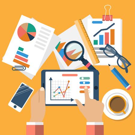 ビジネス コンセプト、フラットなデザイン。バナー管理・財務計画、統計情報、戦略、分析、研究、開発、マーケティング、ソリューション。ベク