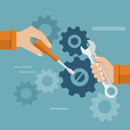 team hands: Teamwork. Hands team with a tool to repair mechanism. Sleek design, vector illustration. Concept teamwork , brainstorming. Development and motivation to work together. Illustration
