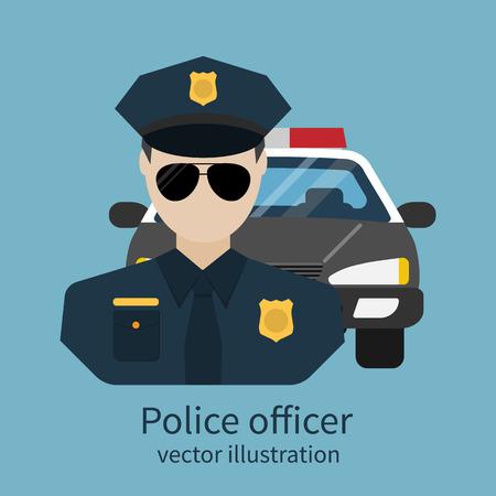 gorra polic�a: avatar oficial de polic�a. ilustraci�n vectorial, dise�o plano. El oficial de polic�a con el coche en el fondo. Poli, sheriff, aplicaci�n. S�mbolo de la seguridad, el orden p�blico. Vectores