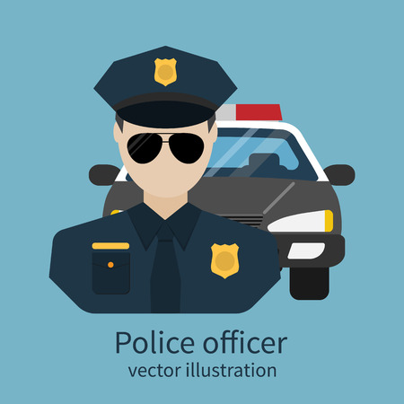 police badge: Police officer avatar. Vector illustration, flat design. Police officer with car on background. Cop, policeman, sheriff, enforcement. Symbol of security, law and order.