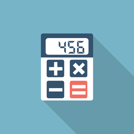 calculate: Calculator icon, flat design with long shadow. Vector illustration. Design elements for mobile and web applications. Calculator isolated. Calculate.  Minimal design. Illustration