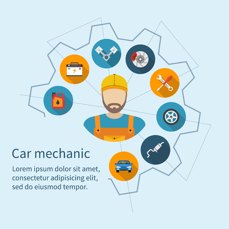 Car mechanic with flat icons tools and spare parts, concept. Repair machines, equipment. Car service concept. Vector illustration. Auto mechanic icon. Repair car flat design. Çizim