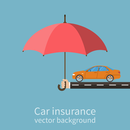 car theft: aseguradora de la mano con un paraguas que protege el coche. Concepto de seguridad del coche. del seguro de autom�vil. estilo plano, ilustraci�n vectorial. Vectores