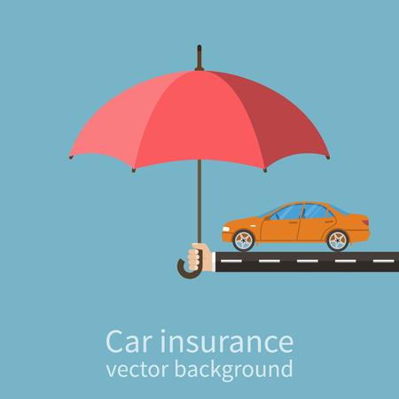 Hand Versicherer mit einem Regenschirm, der das Auto schützt. Safety Concept Car. Kfz-Versicherung. Wohnung Stil, Vektor-Illustration.