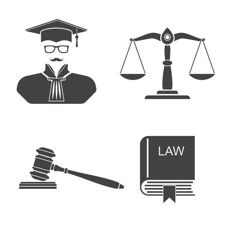 Icone su sfondo bianco bilancia, equilibrio, martelletto, leggi libri, giudice. Impostare legge icone e la giustizia. Illustrazione vettoriale. Segni, simboli, elementi per la progettazione e lo sfondo.