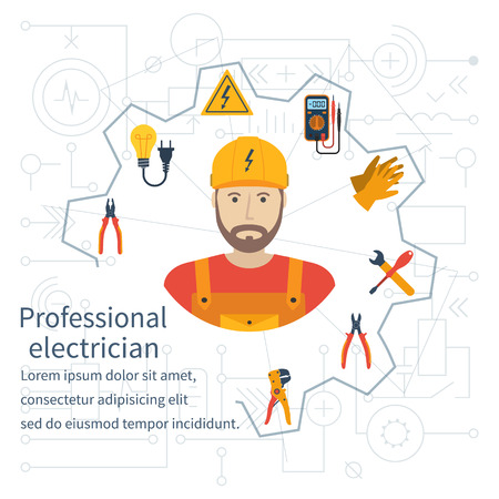 Electricity design concept. Professional electrician. Electricity service. Maintenance and repair of electrical circuits. Electricity service.Icons and security instrument. Flat vector illustration Stock Illustratie