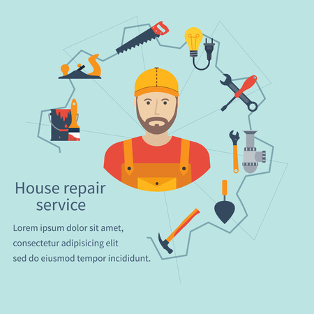 repairing: House repair service. Repairman concept construction and home repair. Handyman and icons tools. Maintenance, home repairman, electrician, plumber, carpenter, painter. Isolated icons flat style. Vector