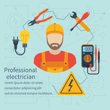 electric energy: Professional electrician icon. Equipment and tools electrician. Banner concept profession electrician. Isolate icons electricity in flat style. Electrician on background of electrical circuit. Vector.