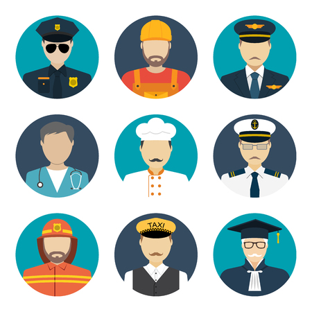 occupations: Avatars profession people: cop, builder, pilot, doctor, cook, sailor, fireman, taxi driver, judge. Face men uniform. Avatars in flat design. Vector illustrations