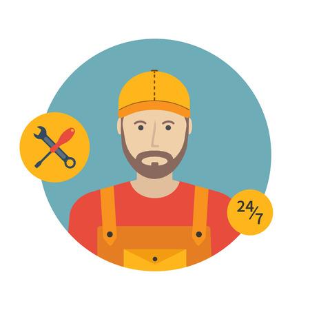 Repairman icon. Flat design, vector illustration. Vektorové ilustrace