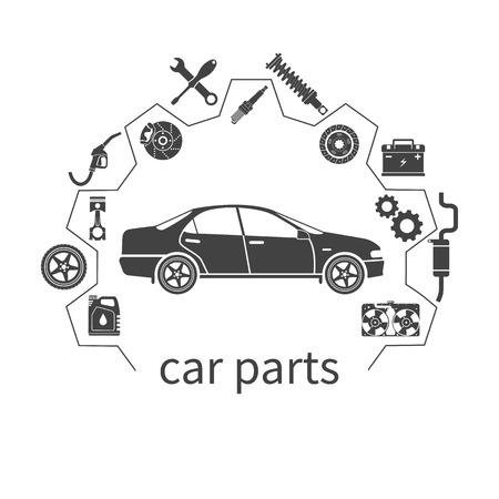 Części samochodowe. Ustaw ikony samochodowych części zamiennych do napraw. ilustracji wektorowych. Koncepcja samochodów i części zamiennych. Może być używany jako logo dla sklepu sprzedaży części zamiennych, internetowej transparent, drukiem. Wektor Logo