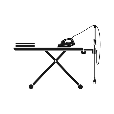 electric iron: Icon iron and ironing board isolated on white. Steam electric iron. Vector illustration.