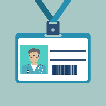 doctor vector: ID Card of the doctor. Vector illustration.