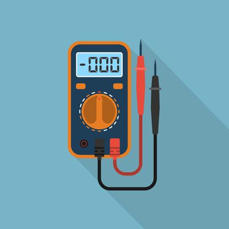 デジタル ・ マルチメータです。電気測定器: 電圧、アンペア、オーム、電源。長い影とアイコンのマルチメータです。使用される設計要素、ロゴ、