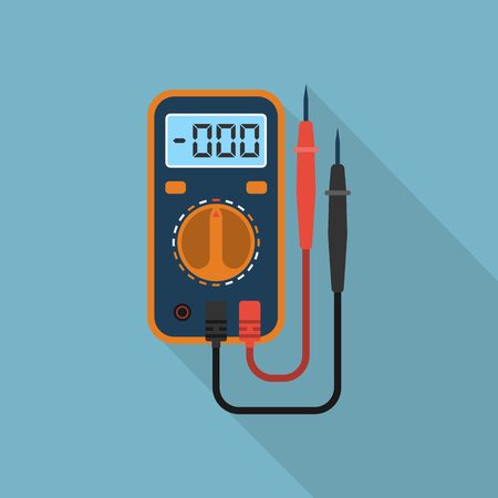 amperage: Digital multimeter. Electrical measuring instrument: voltage, amperage, ohmmeter, power. Icon multimeter with long shadow. Can be used design element, logo, background. Flat style, vector illustration