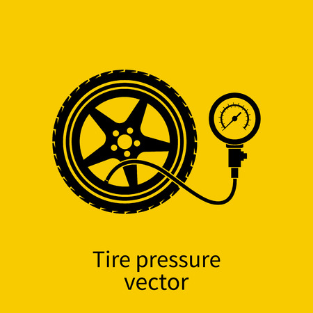 Tire pressure gauge. Checking tire pressure. Gauge, manometer. Car safe concept. Sign, wheel car with instrument measures pressure. Icon tire. Vector illustration Vettoriali