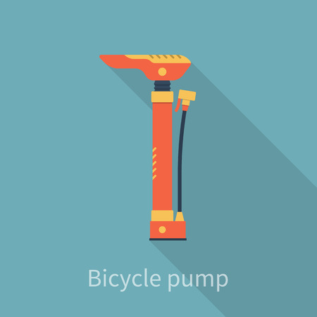 inflating: Bicycle air pump. Bike hand pump. Bicycle tool, equipment, accessories. Flat style, vector illustration. Isolated with shadow. Pump for tire.