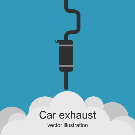 carbon monoxide: Exhaust pipe of car with the clouds of smoke.  Air pollution. Exhaust car. Carbon dioxide emissions. Vector illustration.