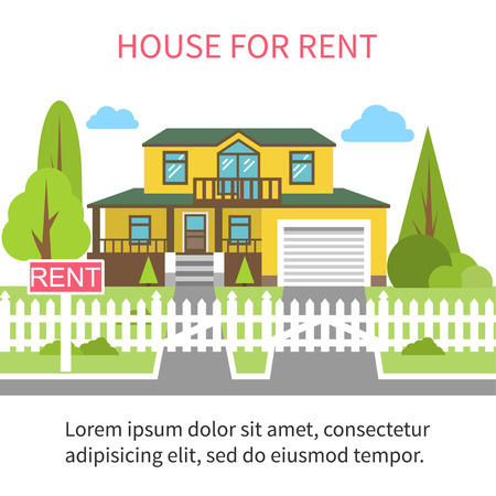 House for rent. Rental housing cozy holiday home for the whole family. Flat style vector illustration.