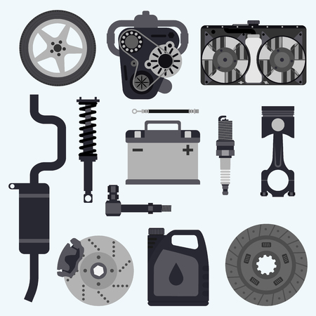 motor car candles: Set auto parts. Automobile systems. Set parts for car repairs.  Engine, wheel, piston, brake, battery, cooling, absorber, exhaust, radiator, suspension, candle, clutch. Vector illustration