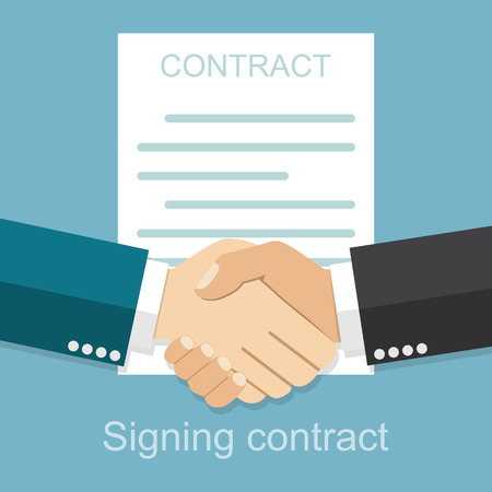 Handshake of business people on the background of the contract. Signing of a treaty business contract,  flat design vector illustration. Agreement.