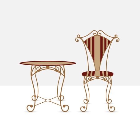 patio furniture: Table and chair. Forged table and chair, retro style, vector illustration. Elements interior house, coffee shop, restaurant. Comfortable furniture vintage.