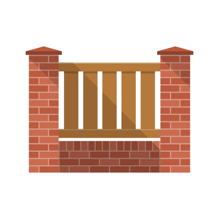 Vector fence isolated. brick fence with wooden picket. Flat design, long shadow. Elements of design for web and mobile applications. Background