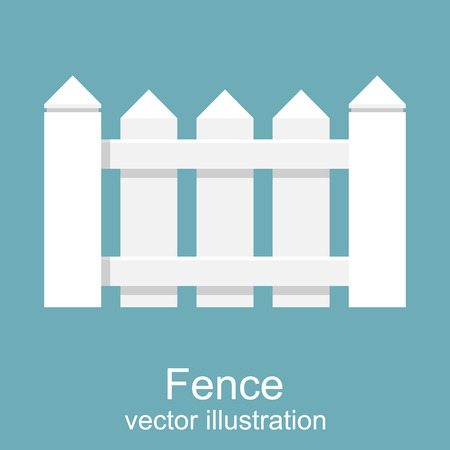 White wooden fence. picket white isolated, vector illustration. Flat design. Elements of design for web and mobile applications. Background Illustration