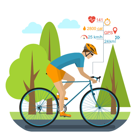 Cyclist on the sports bike, rides in the park. Infographics cycling computer, GPS, heartbeat, distance, time, stopwatch, speed, burning calories. Bike accessories. Flat style, vector illustration