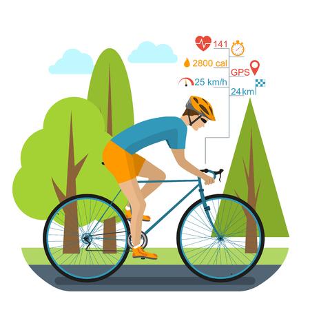 ciclismo: Ciclista en la bicicleta deportiva, paseos en el parque. Infografía que completan un ciclo ordenador, GPS, ritmo cardíaco, distancia, tiempo, cronómetro, velocidad, calorías quema. accesorios de bicicleta. estilo plano, ilustración vectorial Vectores
