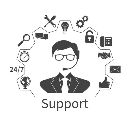 Technical support. Operator call center and services icons. Vector illustration.