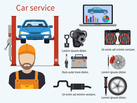 Car service with diagnostics elements, auto and mechanic. Computer diagnostics, engine, cooling, brake, suspension, exhaust.  Technical inspection car repair. Vector illustration. Template, banner. Иллюстрация