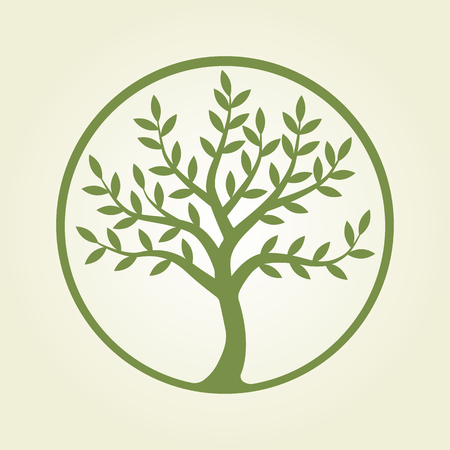 Logo tree, green circle. Plant, nature, ecology. Growing business concept. Vector logo design template. Tree symbol, emblem, logo. Logotype icon. Elements of design for print and web.