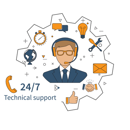 Customer service, technical support, customer support, technical service, call center. Vector illustration, flat design.