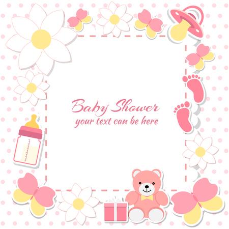 Baby shower meisje, uitnodigingskaart. Plaats voor tekst. Wenskaarten. Vector illustratie. Teddybeer met een geschenkdoos, roze achtergrond, bloemen.