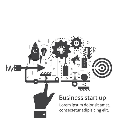 planing: Start up new business project. Flat design, vector illustration. Start up business concept. Icons and symbols of business planning, strategy and start-up. The mechanism of start-up business