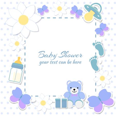 Ducha del bebé, tarjeta de invitación. El lugar de texto. tarjetas de felicitación. Ilustración del vector. Oso de peluche con una caja de regalo, fondo azul, flores. Ilustración de vector