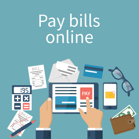 Pay bills online. Online payment concept. Flat design style vector illustration. Credit card, digital tablet, bill. Man pays the bills on the Internet. Vettoriali