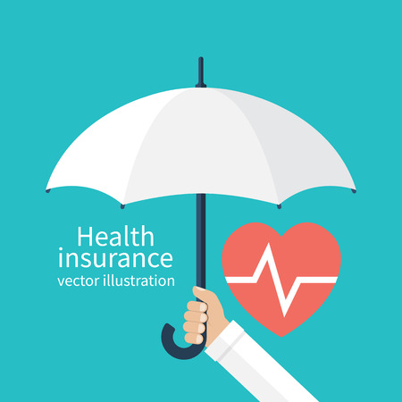Health insurance concept. Protection health. Care medical. Healthcare concept. Doctor holding an umbrella, protecting the heart. Vector illustration flat design style.